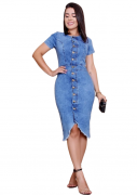 Vestido Jeans Tubinho Mullet Mescla com Botões - Delave - Barak Moda Feminina