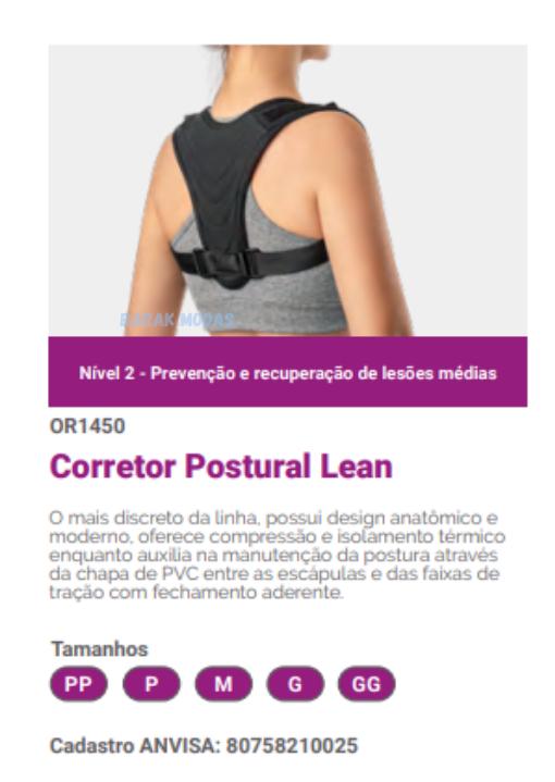 Colete Corretor de Postura Lean Hidrolight Unissex