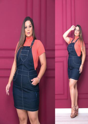 Jardineira Saia com Lycra Pluz Size Jeans