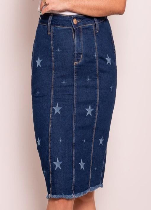 Saia Jeans Estrela com elastano, bolsos faca, fenda traseira