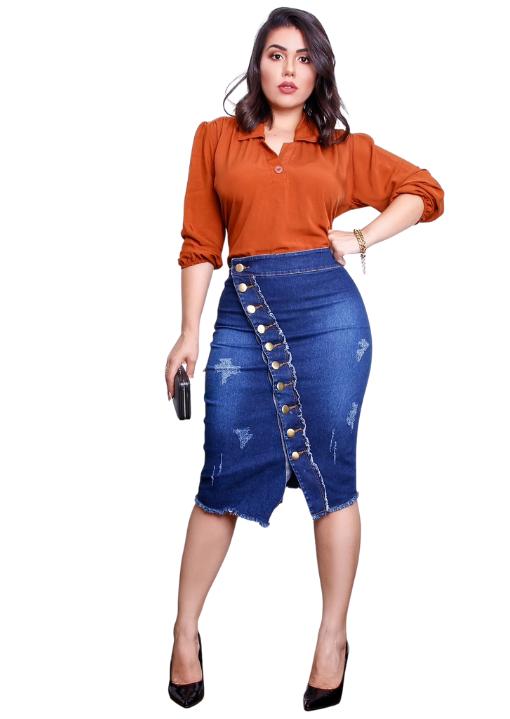 Saia Jeans Reta Abertura Botões Frontal -Barak Moda Feminina