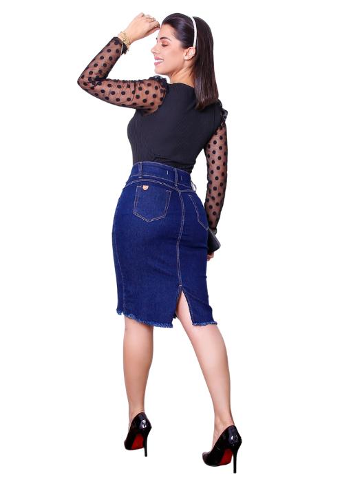 Saia Jeans Reta Clássica - 2 botões - Kall -Ref 166
