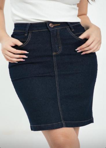 Saia Jeans Reta Clássica - Kall -Ref 2501 -
