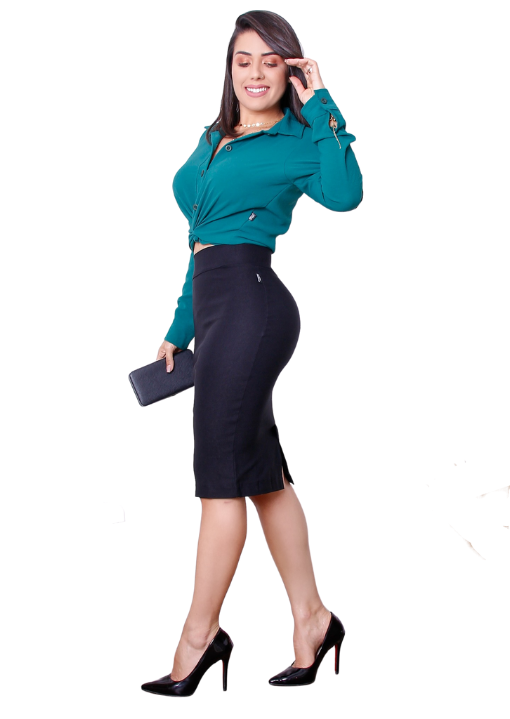 Saia Lápis Secretária Barak - com cós invisível, fechamento zíper e fenda traseiro