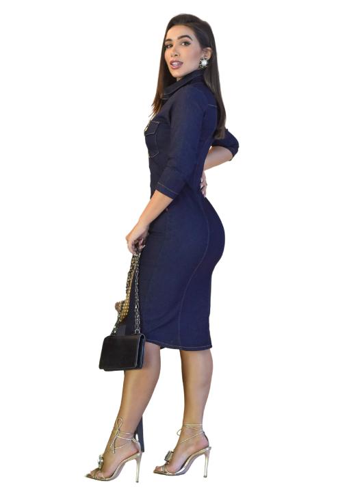 Vestido Clássico Jeans Tubinho Reto botões manga 3/4 Azul Marinho Indigo