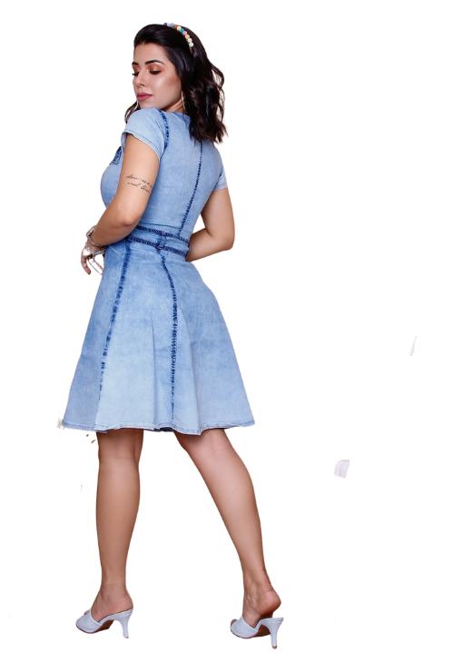Vestido Evasê Jeans com Zíper Barak -Azul Claro Lavado - Delave