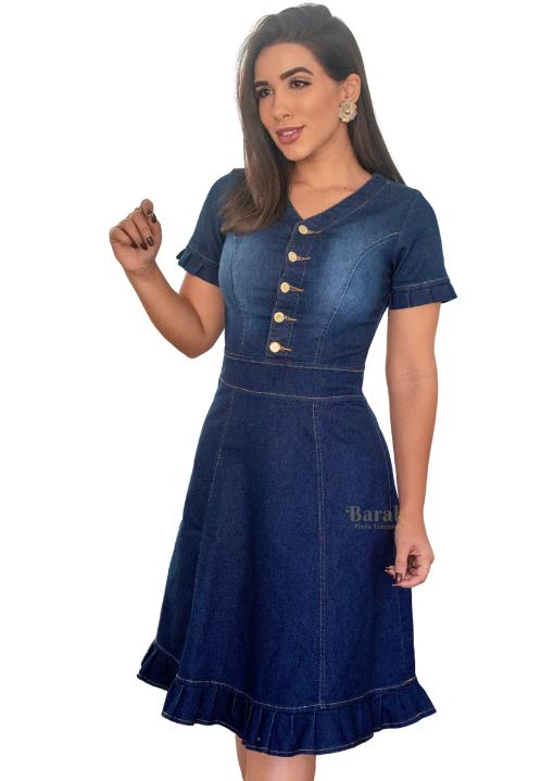 Vestido Jeans Barak Evasê Mira - Com Botões - Moda Evangélica - Azul Marinho