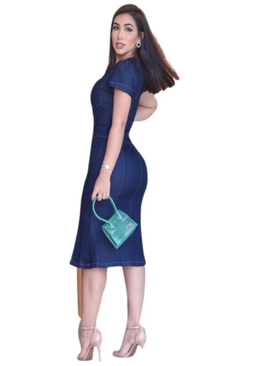 Vestido Jeans  Barak Tulipa Azul Marinho