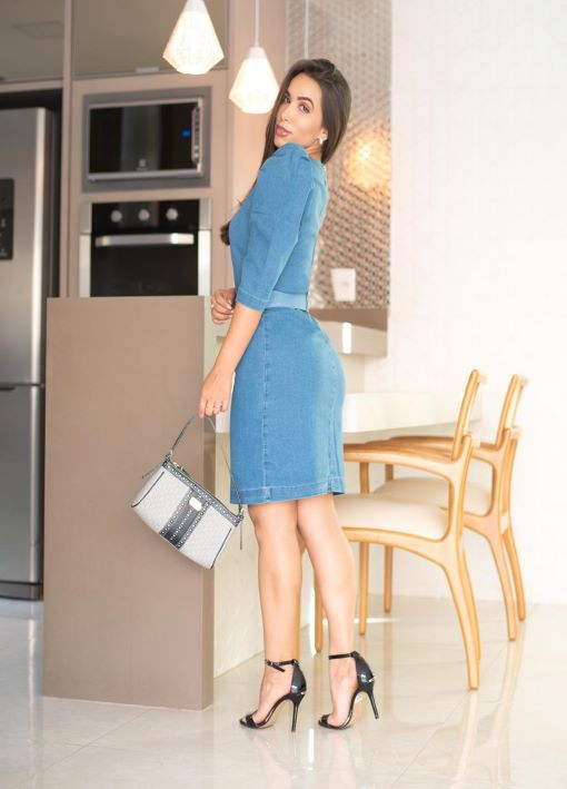 Vestido Jeans Coração com Manga Princesa - Azul Claro