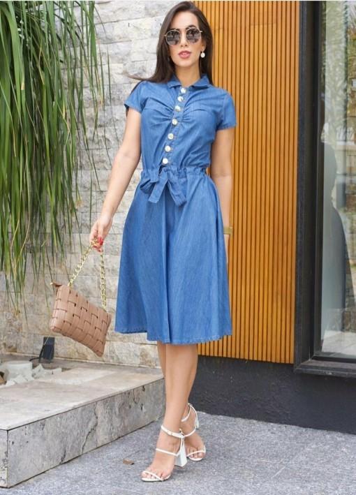 Vestido Jeans Leve Evasê