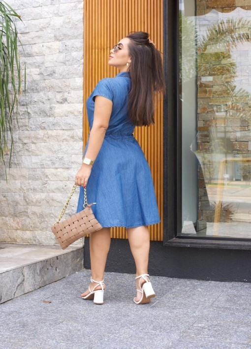 Vestido Jeans Leve Soltinho Evasê
