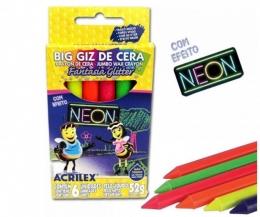 Big Giz de cera com neon glitter com 6 cores | Acrilex