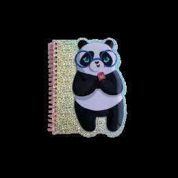 Caderneta com Capa Holográfica Relevo Panda e Sereia| Importados