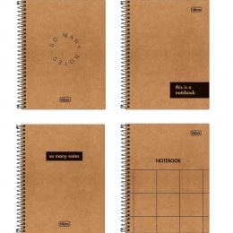 Caderno Capa Dura Colegial Kraftwork 1 Matéria 80 Folhas Sortido | Tilibra