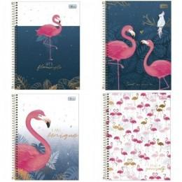Caderno Capa Dura Universitário Flamingo Aloha 10 Matérias 160 folhas - Capas Variadas | Tilibra