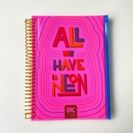 Caderno Color Bubble Neon Universitário 10 Matérias 160 Folhas Rosa   DAC