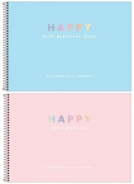 Caderno de Desenho e Cartografia Happy Capa Dura 80 folhas | Tilibra