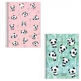Caderno Espiral A5 Capa Dura 1/4 Pandas Lovely Friend 80 Folhas   Tilibra