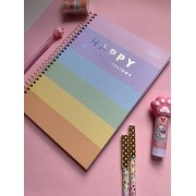 Caderno Happy Colegial Capa Dura Folhas Coloridas e Folhas brancas com Pauta 80 folhas   Tilibra