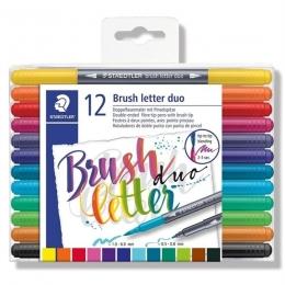 Caneta Brush Pen Duas Pontas 12 Cores Letter Brush Duo | Staedtler