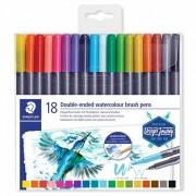 Caneta Brush Pen Duas Pontas Aquarelável 18 Cores Letter Brush Duo 0,5mm e 3,0mm| Staedtler