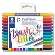 Caneta Brush Pen Duas Pontas Aquarelável 12 Cores Letter Brush Duo 0,5mm e 3,0mm| Staedtler
