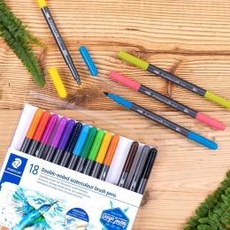 Caneta Brush Pen Duas Pontas Aquarelável 18 Cores Letter Brush Duo 0,5mm e 3,0mm  Staedtler