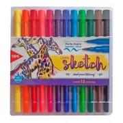 Caneta Brush Pen Sketch Duas Pontas com 12 Cores | Tris