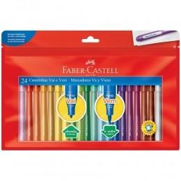 Caneta Hidrográfica - Vai E vem | 24 cores | Faber-Castell