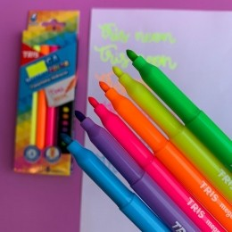 Canetinha Hidrocor 6 Cores Neon Mega Hidro Color | Tris