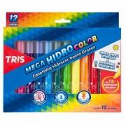 Canetinha Hidrocor Ponta Grossa Mega HidroColor 12 cores   Tris