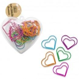 Clips Coração Colorido com 20 unidades | Tilibra