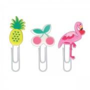 Clips Decorados (Flamingo, Cereja e Abacaxi) 50MM 3 UNIDADES | Tilibra
