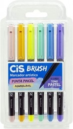 Caneta Brush Pen com Tinta Aquarelável 6 Cores Tons Pastel| CiS
