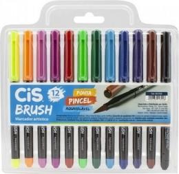 Caneta Brush Pen com Tinta Aquarelável 12 cores | CiS