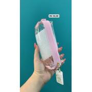 Estojo Baú  Cristal Rosa Tons Pastel | Fizz