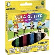 Estojo Cola com glitter   06 Cores 23g   Acrilex
