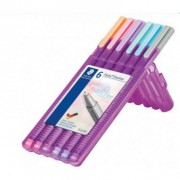 Estojo com 6 Cores Caneta Fineliner Triplus 0.3mm - Tons Pastel | Staedtler