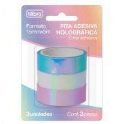 Fita Adesiva Holográfica 15mmX5m - Blister com 3 unidades   Tilibra
