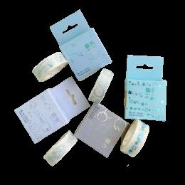 Fita Adesiva Washi Tape Decorada com detalhes em brilho cromado| Importado