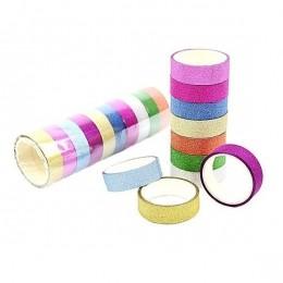 Fita Adesiva Washi Tape Lisa Glitter com 10 cores   Importado