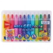Giz De Cera 12 Cores Mega Gel Color Retrátil com cheirinho   Tris