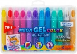 Giz Retratil Mega Gel Color Metálico 12 Cores | Tris