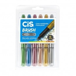 Kit Caneta Brush Pen | Metallic | 6 cores | CIS