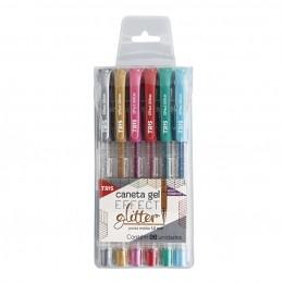 Kit Caneta Gel Effect Glitter 6 Cores    Tris