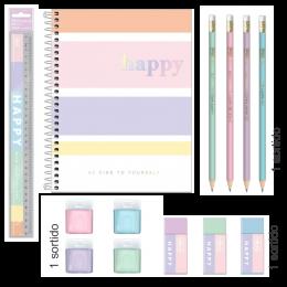 Kit Happy Caderno Colorido | 5 ítens | Tilibra