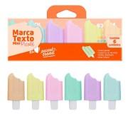 Kit Mini Marca Texto Picolé Tons Pastel Com 6 Cores| Jocar Office