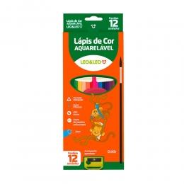 Lápis de Cor Aquarelável 12 Cores + 1 Apontador + 1 Pincel | Leo & Leo