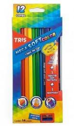 Lápis De Cor Mega Soft Color 12 Cores + 01 Apontador |  Tris