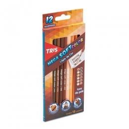Lápis de Cor Mega Soft Color Tons de Pele 12 Cores | Tris